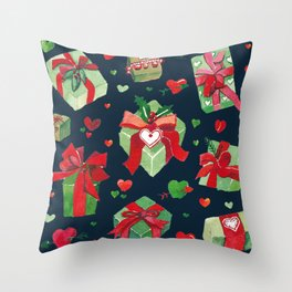 love is a present watercolor pattern Throw Pillow