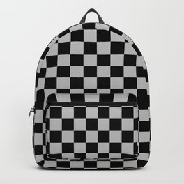 Black and Gray Checkerboard Backpack