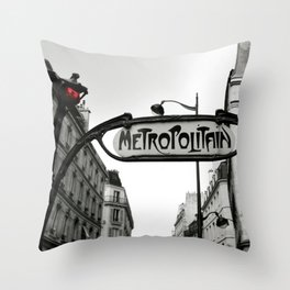Paris Art Nouveau Metro - Metropolitan Subway Station Sign black and white photograph Throw Pillow
