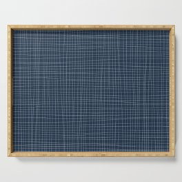 Blue and White Grid - Disorderly Order Serving Tray