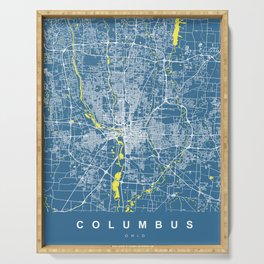 COLUMBUS Map Ohio | Blue & Yellow | More Colors, Review My Collections Serving Tray