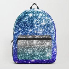 Silver Ocean Blue Galaxy Sparkle Stars Backpack