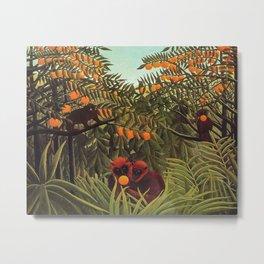 Apes in the Orange Grove by Henri Rousseau 1910 // Colorful Jungle Animal Landscape Scene Metal Print