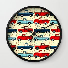 Winter Vintage Trucks Wall Clock