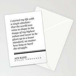 Ayn Rand Quote - Atlas Shrugged - Minimalist, Classic, Typographic Print - Inspiring - Literature Stationery Cards