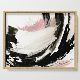 Crash: an abstract mixed media piece in black white and pink Serving Tray