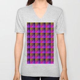 Pink And Yellow Mustard Checkered Pixel Art Pattern Unisex V-Neck