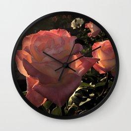 Sunset Roses Wall Clock