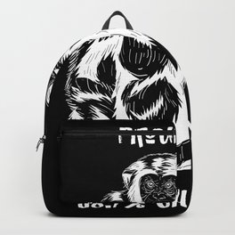 Chimpanzee Primate Saying Gift Idea Design Backpack