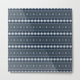 Ethnic grey and blue. Metal Print