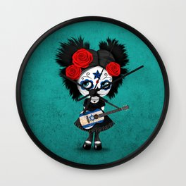 Day of the Dead Girl Playing Israeli Flag Guitar Wall Clock