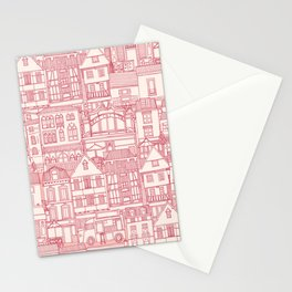 cafe buildings pink Stationery Cards