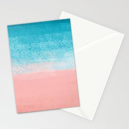 Pink Sea & Turquoise Landscape_Brush Strokes Abstract Horizon Stationery Cards