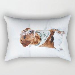 Dog Sitting in Snow Rectangular Pillow