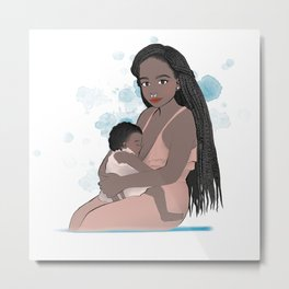 Mother of Color Breastfeeding // mom and toddler nursing with watercolor backsplash Metal Print
