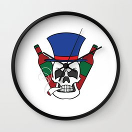 A illustration of a unique Smoking Skull with Alcohol Wine Whiskey Tequila Cocktail Smoker Wall Clock