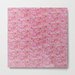 Chirimen Floral Pink Metal Print
