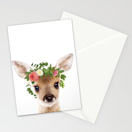 Baby Deer With Flower Crown, Baby Animals Art Print By Synplus Stationery Cards