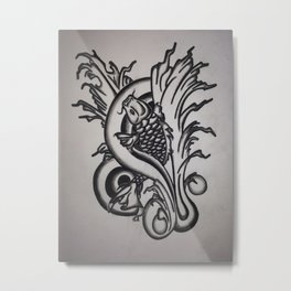 Koi Upstream Metal Print