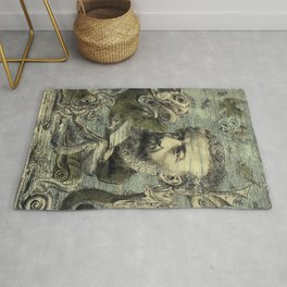 Vintage Jules Verne Periodical Cover Rug