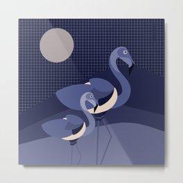 Blue Modern Animals Flamingo Illustration Metal Print