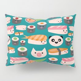 Kawaii sushi teal Pillow Sham