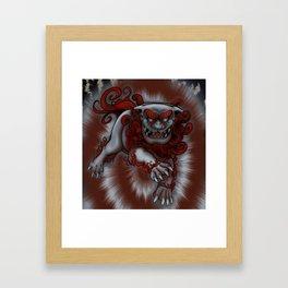 Lunging Komainu Framed Art Print