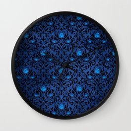 Blue Rose Pattern Wall Clock