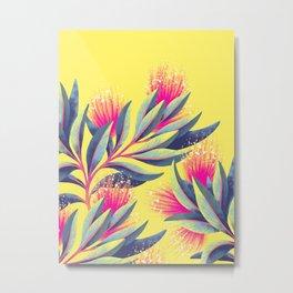 Pohutukawa - Yellow / Pink Metal Print