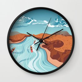 Blue river flowing through the high mountain and rafting people landscape Wall Clock