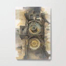 Prague Orloj Astronomical Clock Watercolor Medieval Architecture Historic Building Painting Metal Print