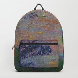 Colorful 'Sunset at Sea' nautical coastal landscape by Henri Jean Guillaume Martin Backpack