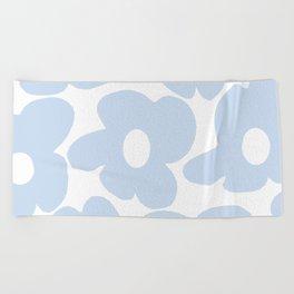 Large Baby Blue Retro Flowers White Background #decor #society6 #buyart Beach Towel