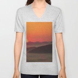Sunrise Over Blue Ridge Mountains Unisex V-Neck