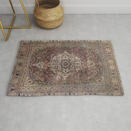 Antique Persia Doroksh Old Century Authentic Dusty Dull Blue Gray Green Vintage Rug Pattern Rug