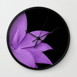 Agave Finesse #10 - Purple on Black #tropical #decor #art #society6 Wall Clock