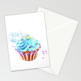 Cupcake watercolor illustration Stationery Cards