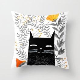 black cat with botanical illustration Throw Pillow