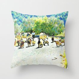 Shepherd with cows and goats on the road Throw Pillow