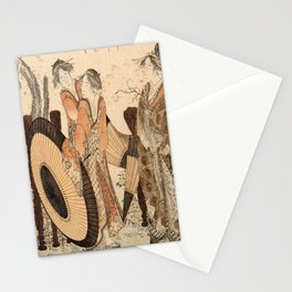 Hokusai, one oiran and two shinzos -manga, japan,hokusai,japanese,北斎,ミュージシャン Stationery Cards