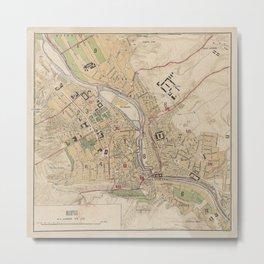 Vintage Map of Tbilisi Georgia (1878) Metal Print