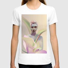 portrait with flower T-shirt