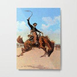 "Frederic Remington Western Art ""The Buck Jumper"" Metal Print"