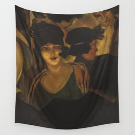Café d'Italia, Roaring Twenties Free-spirited Flapper Jazz Age nightlife portrait by Christian Schad Wall Tapestry