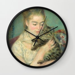 Woman with a Cat Oil Painting by Auguste Renoir Wall Clock