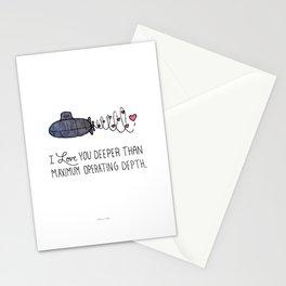 I Love You Deeper Than Maximum Operating Depth - Submarine Valentine Stationery Cards