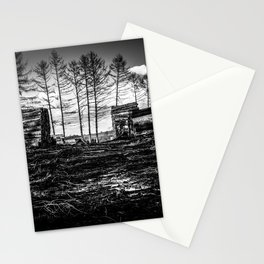 Poltery Site (Wood Storage Area) After Storm Victoria Möhne Forest bw Stationery Cards