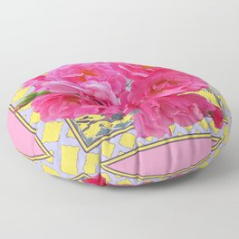 AWESOME PINK ROSES YELLOW-GREY LATTICE  DESIGN Floor Pillow