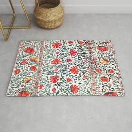 Floral Pattern Tapestry II // 18th Century Colorful Green Yellow Orange Red Mint Blue Flower Design Rug