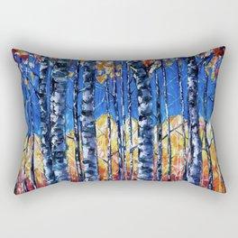 Aspen Trees  Autumn Canopy Painting  Rectangular Pillow